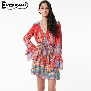 Everkaki Women Gypsy Collective Lotus Gown Boho Style Short Dress V Neck 2017 New Fashion Flare Sleeve Print Dresses SpellDesign