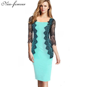 Eyelash Floral Lace Elegant Lady formal 3/4 sleeve Women Vintage square neck Wear To Work Pencil Illusion Sheath Dress bty797