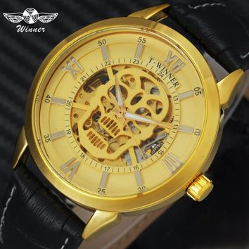 WINNER Steampunk Skull Auto Mechanical Watch Men Leather Strap 3D Skeleton Dial Luminous Hand Top Brand Luxury Wrist Watches