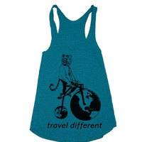 Womens Tiger On Penny Farthing Bicycle Tri-Blend Racerback Tank - american apparel tanktop shirt - XS, S, M, and L (7 Color Options)