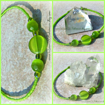 Green Cateye Anklet Bracelet, Beaded anklet, Beach Anklet, Beach wear, Direct Checkout, Bridesmaids Gift