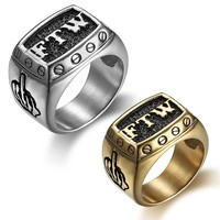 Punk 316L Stainless Steel FTW Middle Finger Motor Biker Silver Gold Color Ring Male Rings Fashion Jewelry
