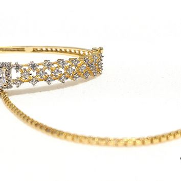 White CZ stone Bangle Bracelet with attached Finger Ring