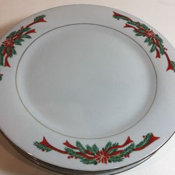 Tienshan Fine China Christmas Poinsettia & Red Ribbons Gold Trim 4 Salad Plates