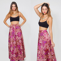 Vintage 70s FLORAL Maxi Skirt Purple & Pink PSYCHEDELIC Floral High Waisted Hippie Skirt