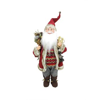 """18"""" Bundled Up Standing Santa Claus Christmas Figure with Snow Sled and Lantern"""
