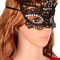 Black Lace Diamond Embellished Masquerade Party Mask