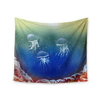 "Infinite Spray Art ""Underwater Aliens"" Blue Jellyfish Wall Tapestry"