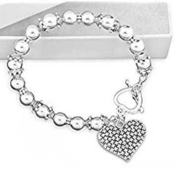 Puzzle Piece Heart Beaded Bracelet for Autism Awareness