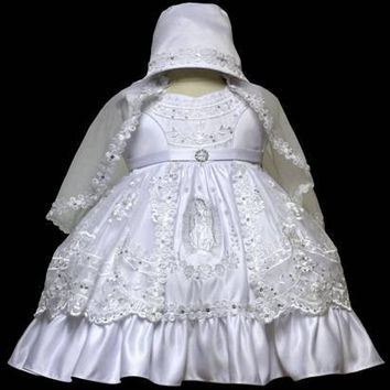 Baby Girl Toddler Christening Baptism Dress Gowns outfit set with bonnet /XS/S/M/L/XL/0-3M/3-6M/6-12M/12-18M/18-24M/XSMALL/SMALL/MEDIUM/LARGE/XL/2t/#5602