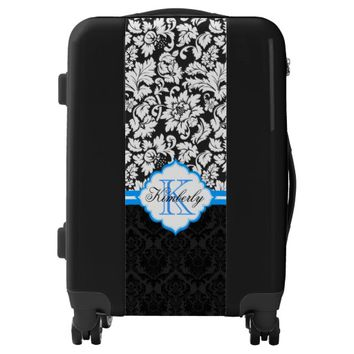 Monogram Black And White Floral Damask With Blue Luggage