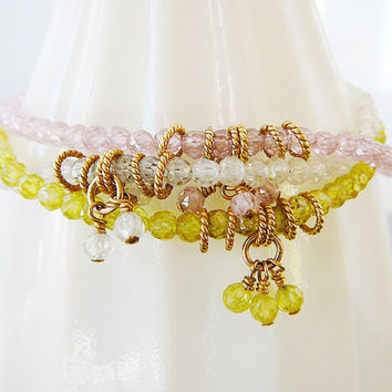 Bracelet, Cubic Zirconia, 14kt Gold Filled, Dangles, Layering, Friendship, Wedding, Bride, Bridal