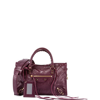Balenciaga Classic City Small Arena Satchel Bag, Violet Prune