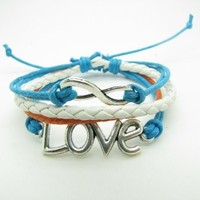 Blue Rope Adjustable Infinity Wish Love Bacelet Vintage Silver Karma Bracelet,infinity Wish Bracele