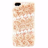 Luxury 3d Cute Handmade Pink Cloth Rose Pearls Hard Case Cover for Iphone5 5g