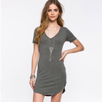 Grey Short Sleeve Side Cut Hem Mini Dress