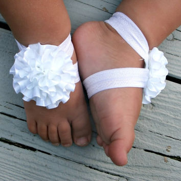 Baby Barefoot Sandals .. White Ribbon Flower on White Elastic .. Toddler Sandals .. Newborn Sandals