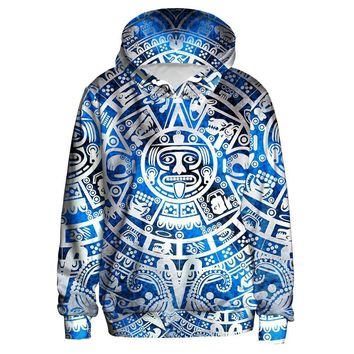 Tribal Indian Figures All Over Print Hoodie Sweater