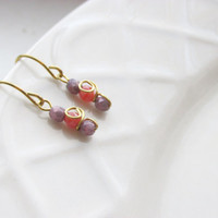 Pastel Glass Earrings, Czech Glass and Brass Handmade Earrings, Gift for Her Pink and Purple