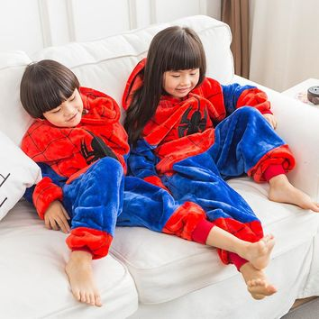 Boy Girl Pajamas Children New Unisex pijamas Spiderman Minions Pikachu Kid Cartoon Animal Cosplay Pyjama Onesuit Sleepwear Hoodie