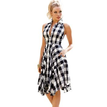 Echoine 2017 Fashion Women Shirt dress Plaid Sleeveless Skater Dresses Denim Checks Flared Dress vestidos