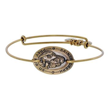 Alex and Ani Saint Joseph Horizontal Charm Bangle - Russian Gold