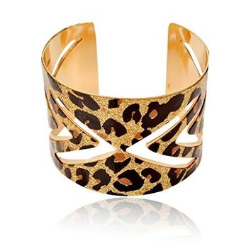 SUMAJU Sexy Print Leopard Hollowed Glitter Sparkle Open Ended Cuff Adjustable Bangle Bracelet 197in Wide