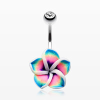 Hawaiian Plumeria Belly Button Ring
