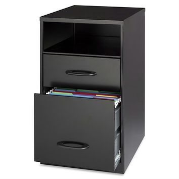 Black Metal 2 Drawer Filing Cabinet With Office Storage Shelf