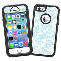 "Soft Chateau Blue Damask ""Protective Decal Skin"" for OtterBox Defender iPhone 5s Case"