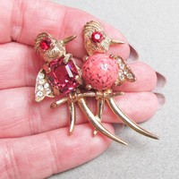 Signed Weiss Vintage Birds on a Branch Rhinestone Glass Cabochon Pin, Book Piece!