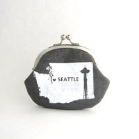 Coin Purse - Seattle Washington Screen Print on Gray Linen - change purse with silver metal clasp, kiss lock coin pouch