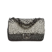 Chanel Black and White Pearl Flap Handbag
