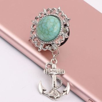 Turquoise Dangle Anchors Gauges