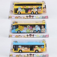 Tsum Tsum mini toy Anime cartoon Minnie  Mickey mouse Winnie Dumbo elastin bus 18x9cm Bus Model for gifts