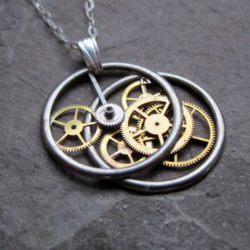 "Clockwork Pendant ""Duality"" Recycled Mechanical Watch Gears and Intricate Sculpture Wearable Art Not Quite Steampunk Assembly Necklace"