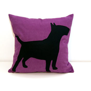 Radiant Orchid Bull Terrier cushion cover - purple and black - dog pillow - decorative pillow - sofa pillow - color block