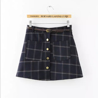 Plaid Print Belt Button Pockets A-Line Mini Skirt