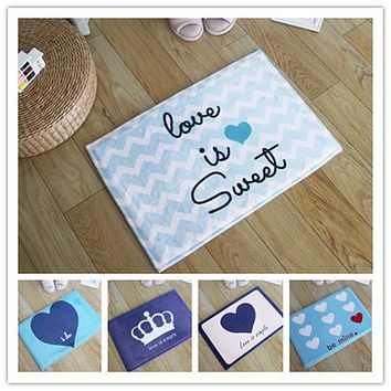 4 Sizes Love Couple Heart Image Households Plush Toilet Rug Door Mats Bedroom Carpet Bathroom Absorbent Non-slip Bath Mats