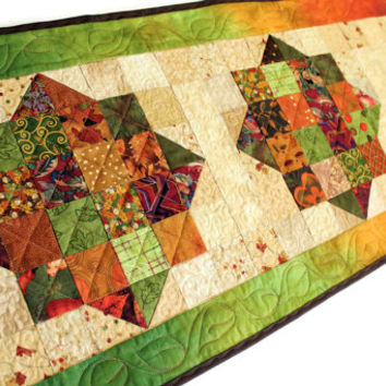 Quilted Fall Table Runner - Jewels Autumn Table Runner, Green and Brown Table Decor, Quiltsy Handmade