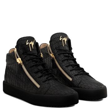 Giuseppe Zanotti Gz Kriss Black Crocodile-embossed Leather Mid-top Sneaker