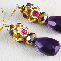 Amethyst Briolette Earrings MultiColor by BellaSweetJewelry