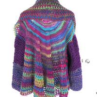 Extra Large Circle Shrug, Crochet Multi Colored Oversized Shrug