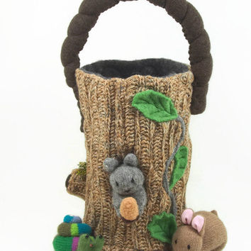 Animal Play toy bag, bag only,  waldorf toy bag, toy storage, woodland toy bag