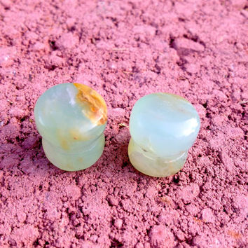 Peruvian blue opal plugs--Item #158