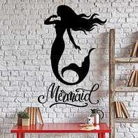 Wall Vinyl Decal Mermaid Bathroom Quotes Ocean Marine Undersea Home Decor Unique Gift z4376