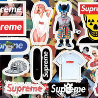 hot sell hiphop supreme waterproof PVC laptop Stickers For luggage laptop guitar Bicycle Motorcycle Stickers
