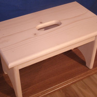 """Wooden step stool with hand hole , unfinished unfinished pine 9"""" tall,  16"""" long, wooden bench, bathroom stool"""