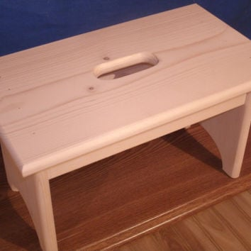 image quarter bamboo bathroom stool wooden step stool with hand hole unfinished unfinished pine quot tall quot