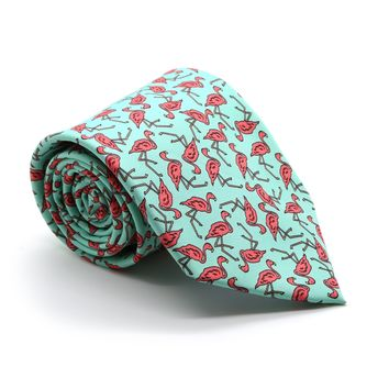 Flamingo Turquoise Necktie with Handkerchief Set